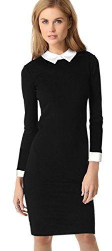 Abito tubino nero con colletto manica lunga ufficio elegante vestito dress pencil (L 46 IT donna) ACEVOG http://www.amazon.it/dp/B01A2AZ44E/ref=cm_sw_r_pi_dp_wgPKwb0VKSQ1R