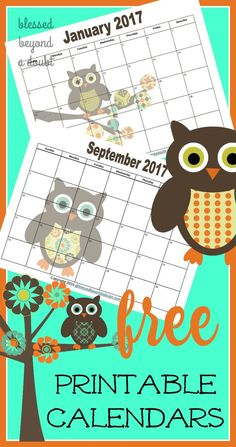 Be  sure to grab these adorable free 2017 printable monthly calendars. Use them for menu planning too.