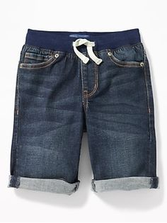 Shop Old Navy's Karate Slim Rib-Waist Built-In Flex Max Jean Shorts for Boys: Elasticized rib-knit waistband, with adjustable drawstring., Riveted scoop pockets and coin pocket in front; Boy Shorts, Denim Shorts, Shop Old Navy, Karate, Cotton Spandex, Rib Knit, What To Wear, Kids Fashion, Slim