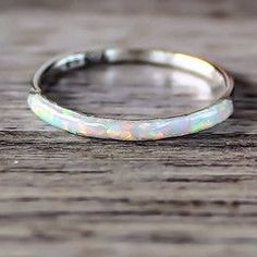 Opal Ring Sterling Silver and OpalRing Made with synthetic Opal Part of our 'Mermaid' Collection
