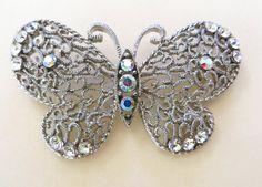 Vintage Butterfly Brooch Filigree & by VintageVogueTreasure