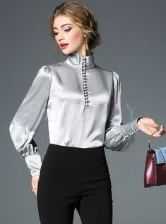 Brief Solid Color Stand Collar Zipper Blouse - Blouse designs New Blouse Designs, Satin Blouses, Women's Blouses, Mode Online, Blouse Outfit, Beautiful Blouses, Fashion 2020, Fashion Online, Elegant Outfit