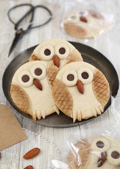 fondue dessert recipes, passover dessert recipes, crescent roll dessert recipes - These Butter Cookie Owls taste just as good as they look and they're so much fun to make! They'll make a delicious gift. You'll also love the Peanut Butter Owl Cookies! Just Desserts, Delicious Desserts, Yummy Food, Owl Cookies, Cookies Et Biscuits, Sugar Cookies, Yummy Treats, Sweet Treats, Dog Treats