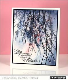 Winter Watercolor with Penny Black stamps. click through for supplies and instructions # design layout ideas # colour palette Penny Black Cards, Penny Black Stamps, Watercolor Christmas Cards, Watercolor Cards, Tiny Miracles, Winter Cards, Card Tags, Creative Cards, Cool Cards