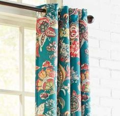 Our whimsical Ashford curtain gives a cheerful finishing touch to any room. The lining helps protect it from UV rays, while the grommet top creates a more contemporary feel from top to bottom. Strip Curtains, Teal Curtains, Dining Room Curtains, Living Room Drapes, Floral Curtains, Lined Curtains, Colorful Curtains, Grommet Curtains, Patterned Curtains