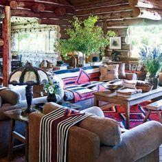 Colorado Ranch House : Ralph Lauren's living room in the main house. Colorado Ranch, Colorado House, Western Style, Western Decor, Rustic Decor, Country Decor, Country Style, Country Living, Western Homes