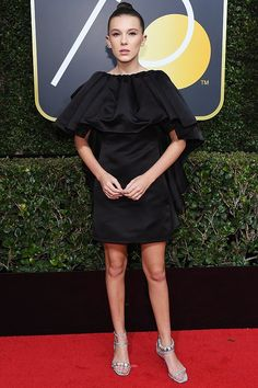 Best Dressed at the Golden Globes 2018: All the Stars in Black - Millie Bobby Brown in Calvin Klein