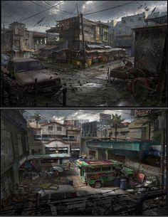 """Résultat de recherche d'images pour """"ville abandonné concept art"""""""