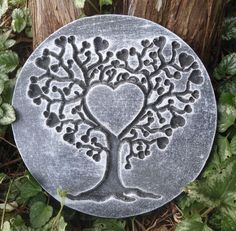 Gostatue MOLD scrolled heart plaque concrete plaster Valentines Day mould
