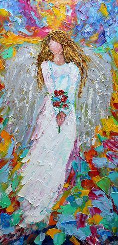 Original oil painting Angel with Roses palette knife impasto impressionism fine art impasto by Karen Tarlton