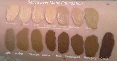 Becca Foundation Swatches, Ever Matte Shine Proof Foundation Shades;