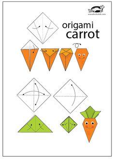 krokotak | VEGETABLE GARDEN-ORIGAMI Easy Origami For Kids, Origami Easy, Diy For Kids, Paper Folding Crafts, Paper Crafts Origami, Vegetable Crafts, Vegetable Garden, Origami Vegetables, Origami Printables
