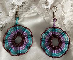 Maroon, teal and lavender wheel handmade macrame earrings by Vicrame on Etsy