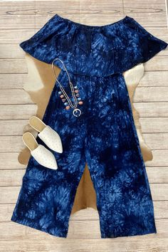 Blue Ties, Blue Tie Dye, Fashion Boutique, Off The Shoulder, Navy Blue, Jumpsuit, Rompers, My Style, How To Wear