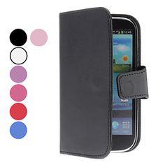 Solid Color PU læderetui med kort slot til Samsung Galaxy S3 I9300 (assorterede farver) – DKK kr. 32