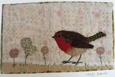 Robin collage by Mandy Pattullo Bird Applique, Bird Embroidery, Free Motion Embroidery, Wool Applique, Cross Stitch Embroidery, Embroidery Ideas, Old Quilts, Mini Quilts, Vintage Quilts