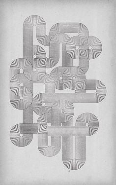 retro style geometric lines poster