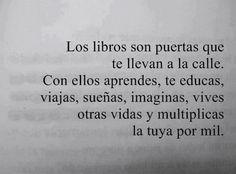 Los libros son puertas que te llevan a la calle, con ellos aprendes, te educas, viajas, sueñas, imaginas, vives otras vidas y multiplicas la tuya por mil