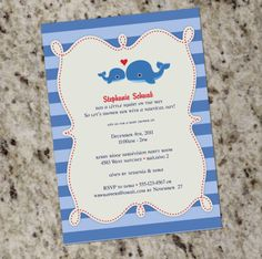 Charming Blue Stripe Whale Baby Shower Invitation Template Red Blue Baby Shower Invite.