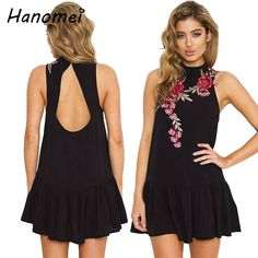 Casual Backless Embroidery Summer Dress Women Sleeveless Vestidos Mujer 2017 Ruffled Floral Robe Femme Mini Black Dresses C140