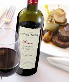 Jacob's Creek Reserve Coonawarra Cabernet Sauvignon bottle with a beef dish is the ideal combination.