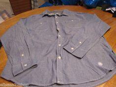 Men's Modern Amusement button up shirt CROW RARE long sleeve L large blue NEW