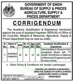 Jobs in Agriculture Department of Supply and Prices December 2016       Daily Newspaper Jobs 2016 | Jobs in Pakistan | Government Jobs |  Saudi Arabia Jobs | NTS Jobs      Vacancy / Positions of this Advertisement   Jobs in Agricultur