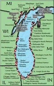 Lake Michigan Lighthouse Map
