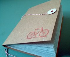 Bicycle Notebook Journal with Recycled chipboard and Bakers Twine. Letterpress printed and handmade by Idea Chíc