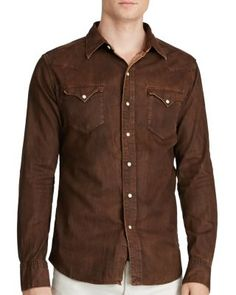 Polo Ralph Lauren Distressed Denim Western Regular Fit Shirt $198.00 Rich, broken-in color give this right-hand-twill shirt from Polo Ralph Lauren a timeworn twist.