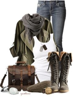 Casual Autumn or warm Winter outfit: leather boots and bag, jeans, and a loose fitting coat
