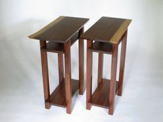 Pair of Live Edge End Tables - Walnut Table Set - Narrow Furniture Design, Minimalist Modern Home Decor - Solid Wood Tables for Small Spaces