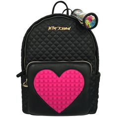 Betsey Johnson Black   Hot Pink Heart Backpack (220 BRL) ❤ liked on Polyvore 347b37b3fb645