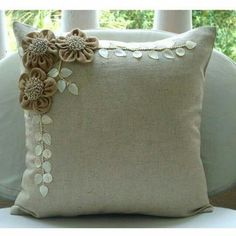 Decorative Throw Pillow Covers Accent Pillow Couch 16 Inch Beige Linen Pillow Cover Jute Pearl Embroidered Bedding Home Decor Jute BloomsDesigner Ecru Throw Pillows Cover For Couch, Jute Flowers Mother Of Pearls Floral Theme Pillows Cover Square Cott Sewing Pillows, Diy Pillows, Linen Pillows, Sofa Pillows, Decorative Throw Pillows, Linen Fabric, Futon Chair, Decorative Items, Burlap Crafts
