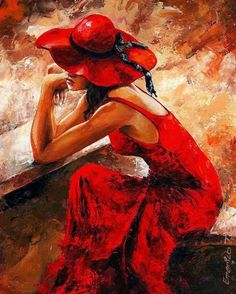 Lady in red от венгерского художника Имре Тота.
