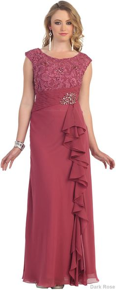 This elegant mother of the bride dress comes with cap sleeve, round neckline, hand beaded on the top area, lace and chiffon material. This dress great for wedding, evening party and other special occa Mob Dresses, Plus Size Dresses, Bridesmaid Dresses, Linen Dresses, Beach Dresses, Fall Dresses, Mother Of The Bride Gown, Mother Of The Bride Plus Size, Chiffon Dress