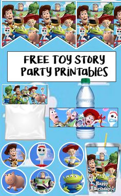 Toy Story 4 Birthday Party Printable Files - Just Pin Fête Toy Story, Toy Story Baby, Toy Story Theme, Toy Story Food, Toy Story Crafts, 4th Birthday Parties, Boy Birthday, Toy Story Birthday Cake, Third Birthday
