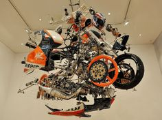 "Australian artist Eamon O'Toole's exact replica of Mick Doohan's legendary Honda NSR500 with the so-called ""Big Bang"" engine"