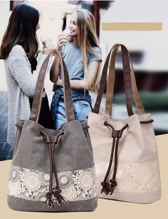 Womens Fashion Handbag Canvas Lady Shoulder Bucket Bag Totes Purse Satchel