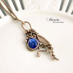 Blue bird - naszyjnik z wisiorem (proj. Pracownia miedzi - Pociecha), do kupienia w DecoBazaar.com