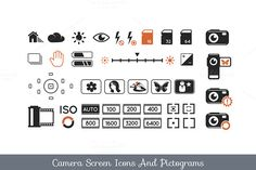 Check out Camera screen icons and pictograms by Teneresa on Creative Market