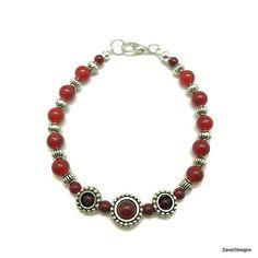 Carnelian Bracelet Red Beaded Bracelet Dark Red Bracelet