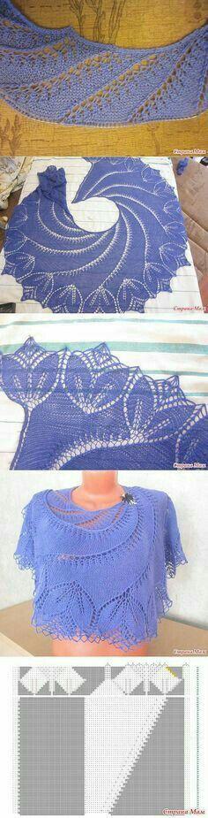Lace Knitting, Knitting Stitches, Knitting Patterns, Crochet Patterns, Knitted Shawls, Crochet Shawl, Knit Crochet, Shawl Patterns, Lace Patterns
