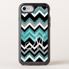 Custom Monogram Chic Retro Chevron Zigzag Pattern Speck iPhone Case - fun gifts funny diy customize personal