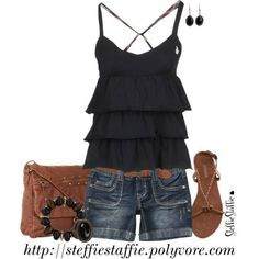 Black, but very cool top Summer Wardrobe, Spring Outfits, Cute Summer Outfits, Short Outfits, Casual Outfits, Fashion Outfits, Casual Wear, Summer Clothes, Women's Casual