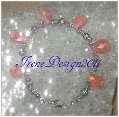 Facetted Cherry Quartz Drops Bracelet by IreneDesign2011
