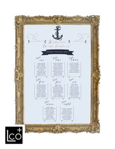 Nautical Wedding Seating Assignments Wedding Seating Chart