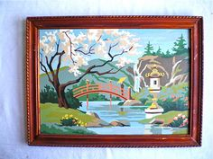 Paint by Number, Vintage, Painting, Framed, Lovely, Asian theme, 12 x 16. $18.00, via Etsy.--  Be still my heart!