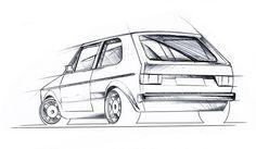 Mk1 Golf sketch by Porsche designer John Bridge