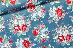 Stoff Rosen - HILCO Sweat * Bouquet Uno * Rosen petrol - ein Designerstück von Stoffe-by-Irene bei DaWanda